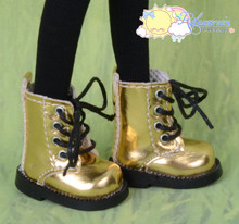 "Doll Shoes Martin Lace-Up Boots Gold for Lati Yellow Pukifee BJD 8"" Kish Riley,Riki Blythe Dolls"