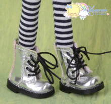 "Doll Shoes Martin Lace-Up Boots Silver for Lati Yellow Pukifee BJD 8"" Kish Riley,Riki Blythe Dolls"