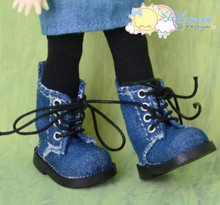 "Doll Shoes Martin Lace-Up Boots Washed Denim Indigo Blue for Lati Yellow Pukifee BJD 8"" Kish Riley,Riki Blythe Dolls"