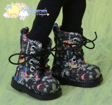 "Doll Shoes Martin Lace-Up Boots Flowers Black for Lati Yellow Pukifee BJD 8"" Kish Riley,Riki Blythe Dolls"