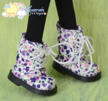 "Doll Shoes Martin Lace-Up Boots Flowers Purple for Lati Yellow Pukifee BJD 8"" Kish Riley,Riki Blythe Dolls"
