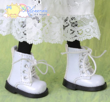 "Doll Shoes Martin Lace-Up Boots Patent White for Lati Yellow Pukifee BJD 8"" Kish Riley,Riki Blythe Dolls"