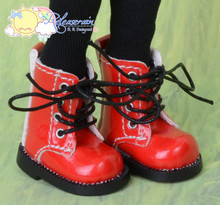 "Doll Shoes Martin Lace-Up Boots Patent Red for Lati Yellow Pukifee BJD 8"" Kish Riley,Riki Blythe Dolls"