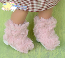 Doll Shoes Fluffy Furry Fuzzy Faux Fur Boots Shaggy Dusty Pink for Sasha Baby Doll