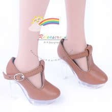 """Clear Stiletto T-Strap Shoes Brown for 22"""" Tonner American Model doll"""