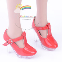 "Clear Stiletto T-Strap Shoes Patent Red for 22"" Tonner American Model doll"