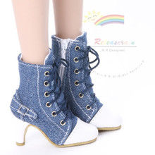 "Ankle Sneakers Heel Shoes Boots Denim Blue for 22"" Tonner American Model Dolls"