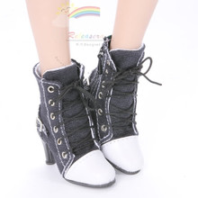 "Ankle Sneakers Heel Shoes Boots Black for 22"" Tonner American Model Dolls"