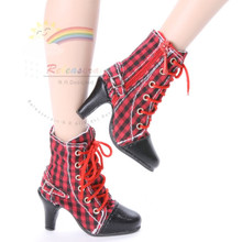 "Ankle Sneakers Heel Shoes Boots Red/Black Checker for 22"" Tonner American Model Dolls"