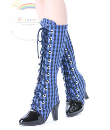 "Knee Heel Sneakers Shoes Boots Blue/Black Checker or 22"" Tonner American Model Dolls"