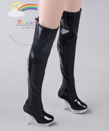 "Clear Heel Shoes Stretch Thigh Boots Patent Black for 22"" Tonner American Model Doll"