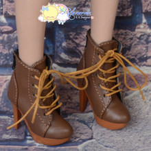 "Platform Heel Shoes Lace-Up Ankle Boots Brown for 22"" Tonner American Model Doll"