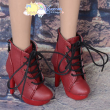 "Platform Heel Shoes Lace-Up Ankle Boots Dark Red for 22"" Tonner American Model Doll"