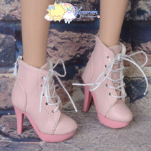 "Platform Heel Shoes Lace-Up Ankle Boots Pink for 22"" Tonner American Model Doll"