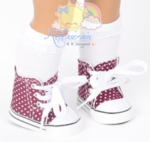 """Cons Canvas Sneakers Shoes Boots Wine/Polka Dots for 18"""" American Girl Dolls"""