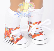 """Cons Sneakers Shoes Boots Sunshine Floral Orange for 18"""" American Girl Dolls"""