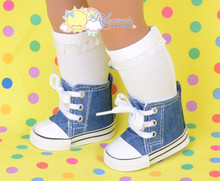 """Cons Canvas Sneakers Shoes Boots Indigo Denim Blue for 18"""" American Girl Dolls"""