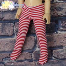 Stretch Knit Pantyhose Stockings Tights Red White Stripes for Yo-SD Littlefee BJD Dollfie Dolls