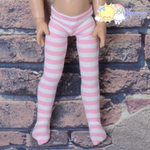 """Stretch Knit Pantyhose Stockings Tights Pink White Stripes for 12"""" Kish Bethany Dolls"""