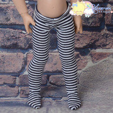 "Stretch Knit Pantyhose Stockings Tights Black White Stripes for 12"" Kish Bethany Dolls"