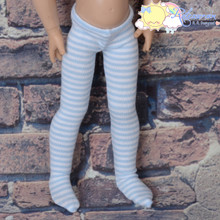 """Stretch Knit Pantyhose Stockings Tights Pale Blue With White Stripes for 12"""" Kish Bethany Dolls"""