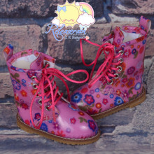 Martin Stitch Shoes Boots Flowers Pink for MSD BJD Dollfie/Kaye Wiggs Doll