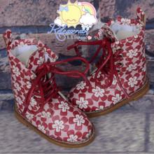 "Martin Stitch Shoes Boots Dark Red Flowers for MSD BJD Dollfie Kaye Wiggs 16"" Sasha Dolls"