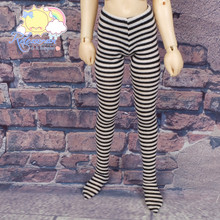 Doll Stockings Stretch Knit Pantyhose Tights Black/Ivory Stripes for MSD Kaye Wiggs Minifee BJD Dollfie