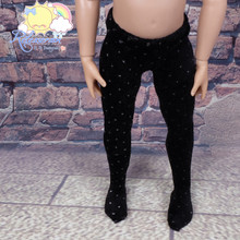 "Releaserain Doll Clothes Velvet Stretch Pantyhose Stockings Tights Black with White Tiny Dots for 14"" Kish Dolls"