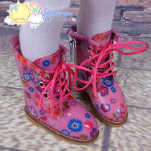 "Doll Shoes Martin Lace-Up Stitching Boots Flowers Pink for Yo-SD BJD Dollfie, Littlefee, 12"" Kish dolls"