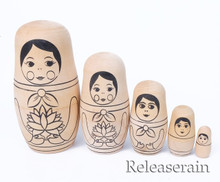 DIY Coloring Yourself Unpainted Traditional Russian Wooden Nesting Doll Matryoshka Babushka Stacking Dolls Set of 5pcs