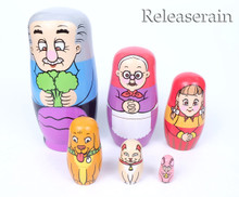My Grandparents Farmer Family Dog Cat Mouse Pet Animals Hand Painted Russian Wooden Nesting Doll Matryoshka Babushka Stacking Dolls 6pcs Set