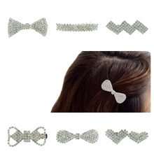 Crystal Rhinestones Bling-bling Bangs Gold Plate 4.5cm (1.77 Inch) Crocodile Alligator Bangs Hair Clips Barrettes Hairpins Slides Set of 6pcs