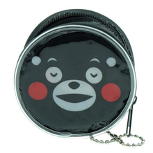 Kumamon Bear Relieved Face Emoji Round Shape Plastic Coin Purse Pouch Wallet Cash Bag Keychain Japan Import