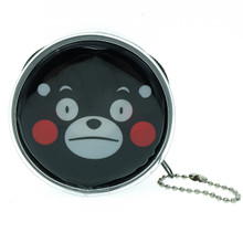 Kumamon Bear Neutral Face Emoji Round Shape Plastic Coin Purse Pouch Wallet Cash Bag Keychain Japan Import
