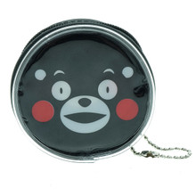 Kumamon Bear Grinning Face Emoji Round Shape Plastic Coin Purse Pouch Wallet Cash Bag Keychain Japan Import