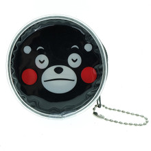 Kumamon Bear Pensive Face Emoji Round Shape Plastic Coin Purse Pouch Wallet Cash Bag Keychain Japan Import