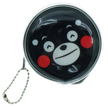 Kumamon Bear Smiling Face with Smiling Eyes Emoji Round Shape Plastic Coin Purse Pouch Wallet Cash Bag Keychain Japan Import