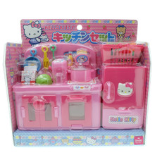 Sanrio Hello Kitty Chef Cooking Kitchen Refrigerator Toaster Water Boiler Girls Kids Children Role Play Toy Set Dollhouse Miniatures 1:8 Scale Doll Accessories Japan Exclusive