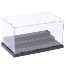 10x5x6 Inch Assembly Transparent Clear Acrylic Display Dustproof Protection 3 Steps Showcase Case Box Black Base for LEGO Minifigures Brick Building Block