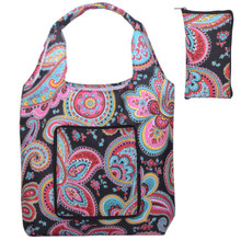 Releaserain Lightweight Handy Waterproof Parisian Paisley Folding Hobo Tote Bag Packable Foldable Portable Handbag for Shopping Outdoor Beach Gym Carry On Travel