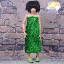 "Doll Clothes Outfit Metallic Glitter Green Dress Strapless Shirred Top Sundress for 16"" Tonner Tyler Ellowyne 14"" Kish Slim BJD MSD Minifee"