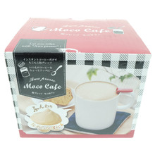 Ernest Mino-Yaki Awa Presso Moco Café Manual Milk Frother Foamer Coffee Foam Maker Ceramic Pottery Mug Cup with Red Lid and Whisk for Green Tea Latte, Cappuccino, Caramel Latte, Milk Chocolate Japan Import Made in Japan