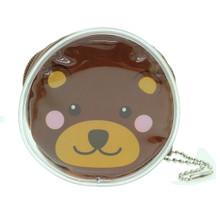 Cute Animal Bear Round Shape Plastic Coin Purse Pouch Wallet Cash Bag Ball Chain Keychain Japan Import