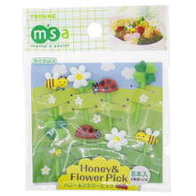 Torune Mama's Assist Lunch Box Accessories Bento Decoration Honey & Flower (Ladybug, Honey Bee, Four Leaf Clover, Flower) Food Picks Set of 8 Pieces P-2973