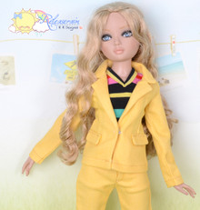 "16"" Fashion Doll Clothes Mango Yellow Denim Suit Jacket Jeans 3pcs Set Outfit for Tonner Ellowyne Wilde"