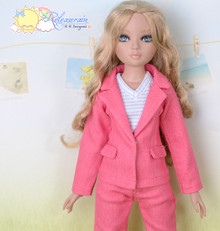 "16"" Fashion Doll Clothes Watermelon Pink Denim Suit Jacket Jeans 3pcs Set Outfit for Tonner Ellowyne Wilde"