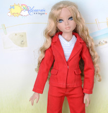 "16"" Fashion Doll Clothes Red Denim Suit Jacket Jeans 3pcs Set Outfit for Tonner Ellowyne Wilde"