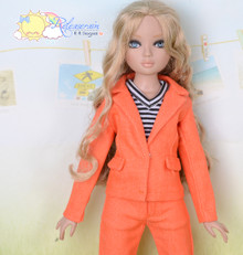 "16"" Fashion Doll Clothes Orange Suit Jacket Jeans 3pcs Set Outfit for Tonner Ellowyne Wilde"
