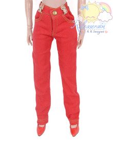 "Releaserain Doll Clothes Red Denim Jeans Pants For 16"" Fashion Dolls Tonner Tyler Ellowyne Wilde Antoinette"